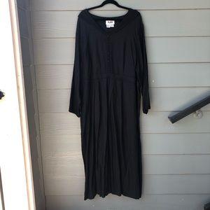 FLAX 2G Black Textured Peasant Maxi Dress